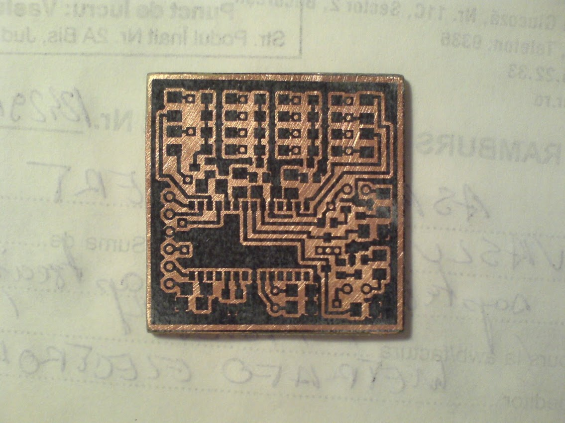 The PCB with the tonner transfered