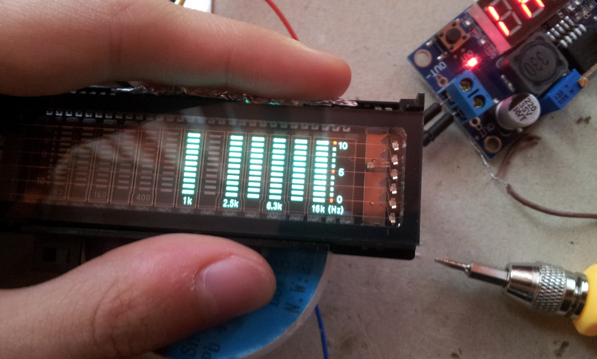 First test of the VFD display